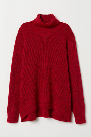 Knitted polo-neck jumper - Red -  | H&M GB