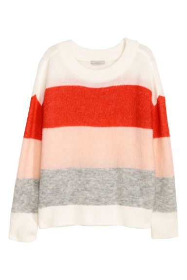Wool-blend jumper - White/Multicoloured stripes - Ladies | H&M