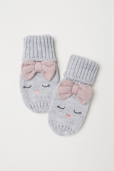 Knitted mittens - Light grey marl - Kids | H&M