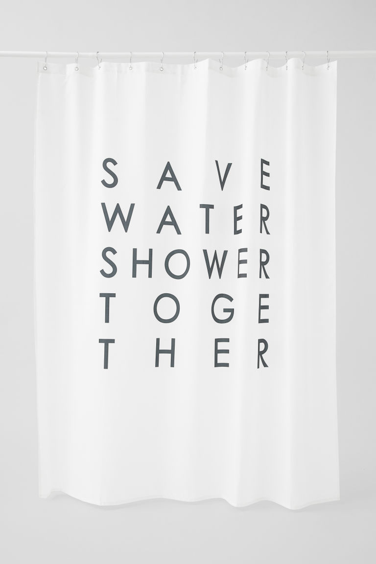 Text-print shower curtain - White - Home All | H&M GB