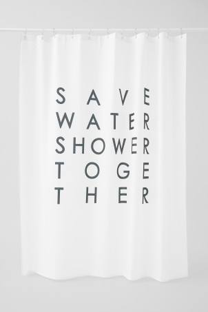 Text-print shower curtain