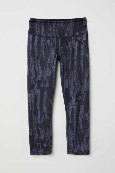 3/4-length sports tights - Dark blue/Patterned -  | H&M CN