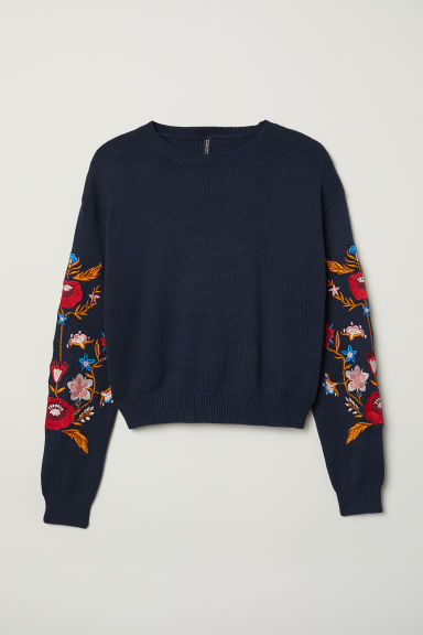 Knitted jumper with embroidery - Dark blue/Flowers -  | H&M GB