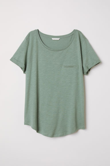 Slub jersey T-shirt - Khaki green - Ladies | H&M