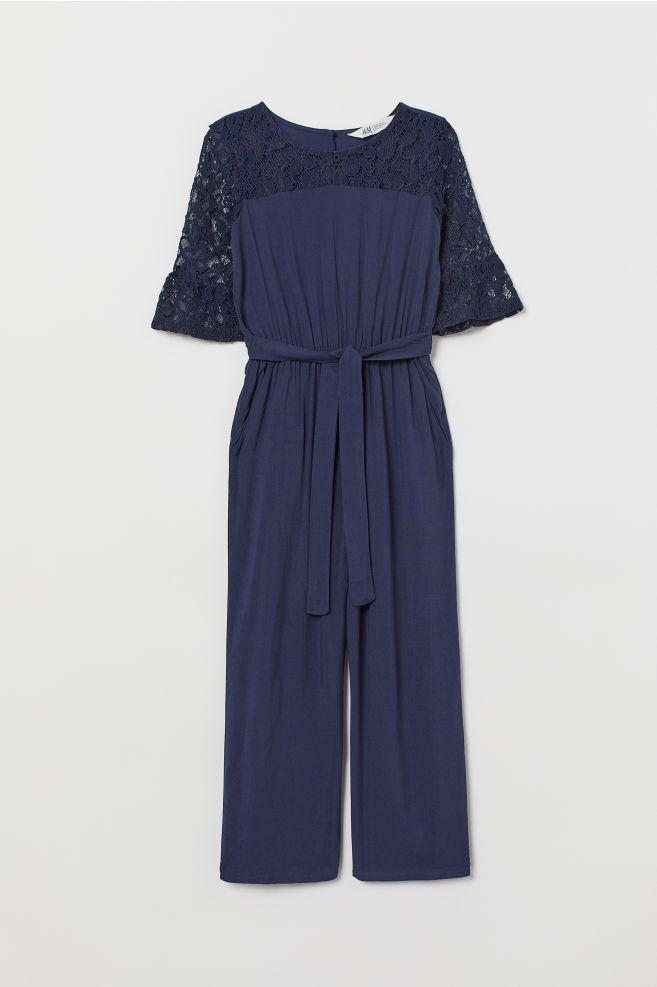 a5949f40a31 ... Jumpsuit with lace - Navy blue - Kids
