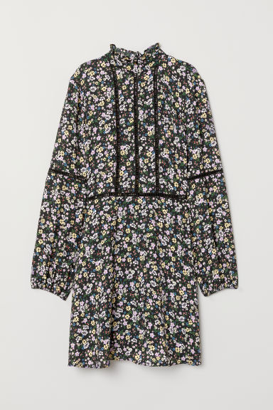 Dress with a frilled collar - Black/Floral -  | H&M CN
