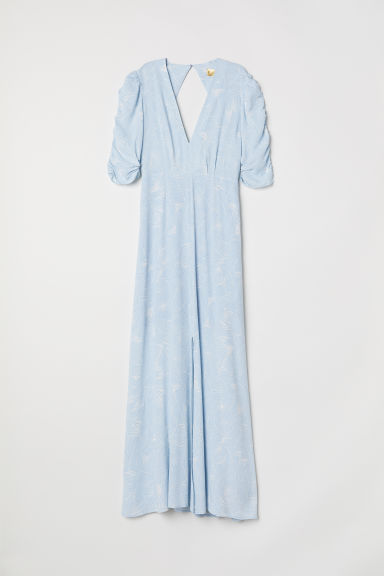 Patterned long dress - Light blue/Patterned -  | H&M
