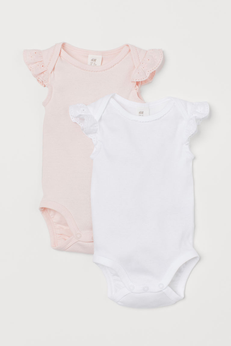 2-pack Lace-sleeved Bodysuits - White/light pink - Kids | H&M US