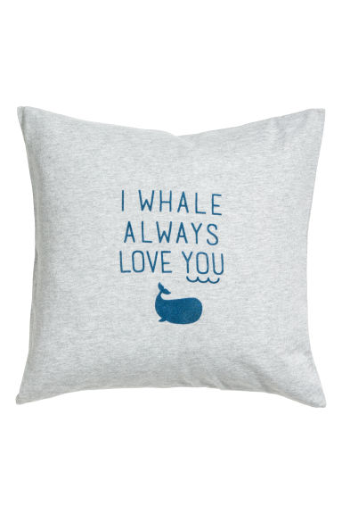 Cotton cushion cover - Grey marl/Whale - Home All | H&M GB