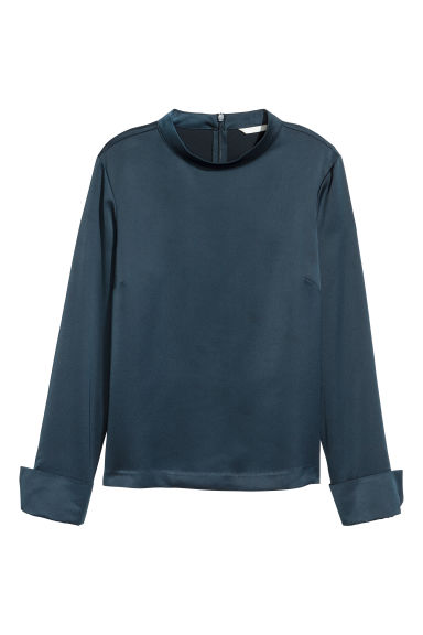 Blouse with a stand-up collar - Dark blue -  | H&M IE