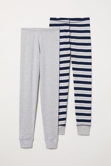 2-pack longjohns - Grey marl/Striped - Kids | H&M