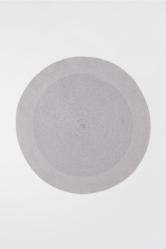 Round Jute Bath Mat Natural White Light Gray Home All H M Us