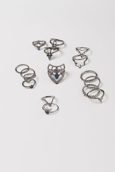 16-pack rings - Silver-coloured - Ladies | H&M CN