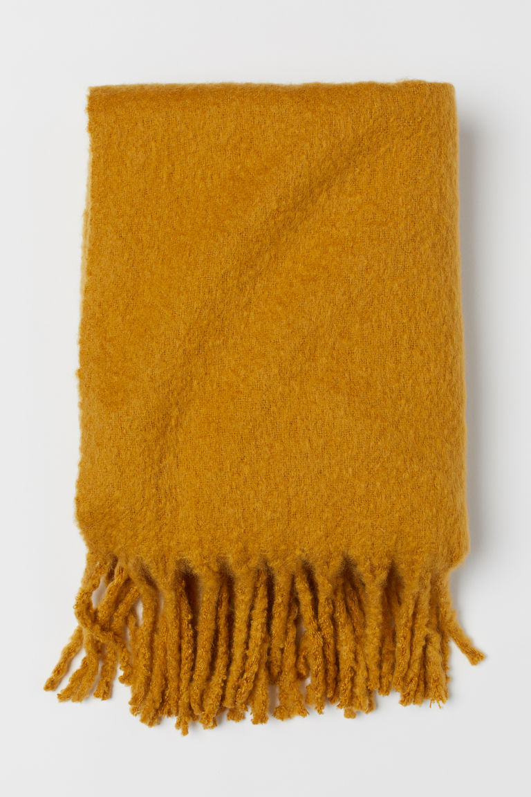 Wool-blend blanket - Dark yellow - Home All | H&M GB