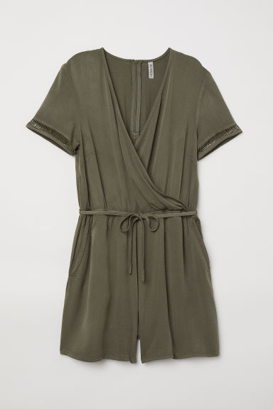 Wrapover playsuit - Khaki green - Ladies | H&M CN