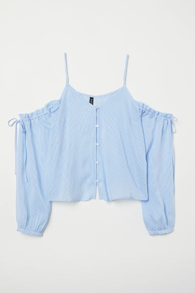 Cold shoulder blouse - Light blue/White striped - Ladies | H&M CN