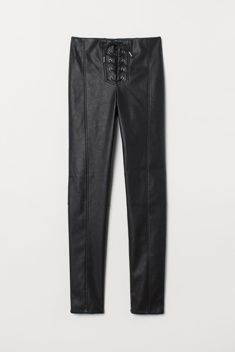 Imitation leather leggings - Black/Lacing -  | H&M