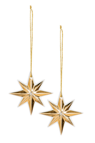 2-pack Christmas decorations - Gold-coloured -  | H&M CN