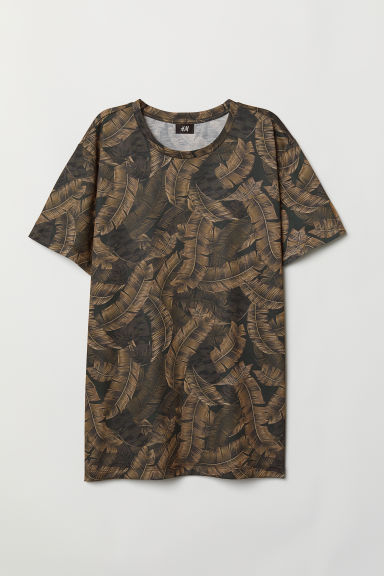 Patterned T-shirt - Dark green/Patterned - Men | H&M CN