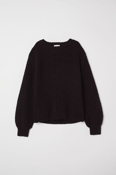 Knitted chenille jumper - Black -  | H&M CN