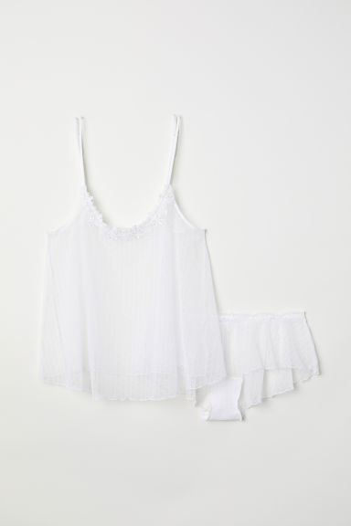 Topje en slip - Wit/stippen -  | H&M BE