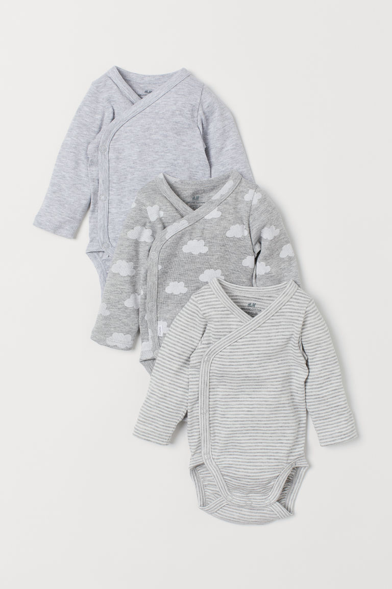 3-pack long-sleeved bodysuits - Light grey marl/Clouds - Kids | H&M