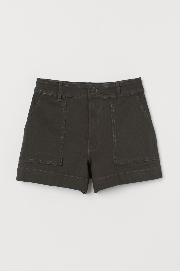 Cotton twill shorts - Dark khaki green - Ladies | H&M IE