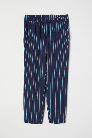 Crêpe trousers - Dark blue/Striped -  | H&M