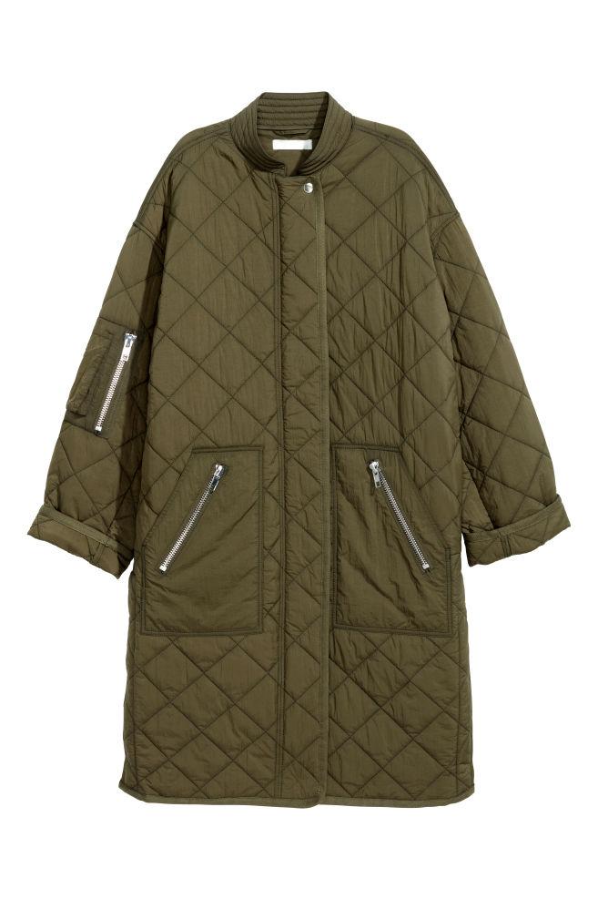 Prešívaný kabát - kaki - ŽENY  5f646f1a3b4