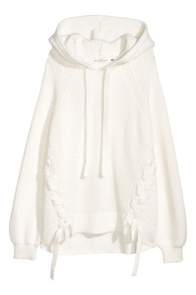 Knitted hooded jumper - White -  | H&M