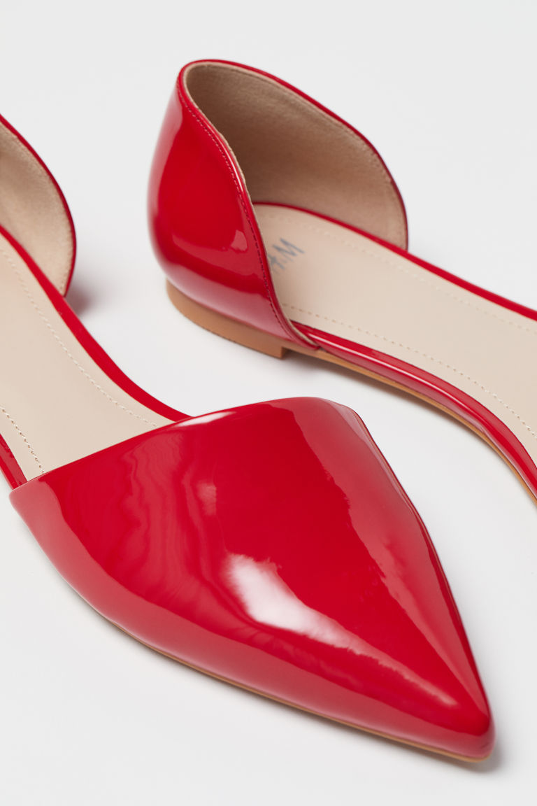 Pointed ballet pumps - Red - Ladies | H&M CN