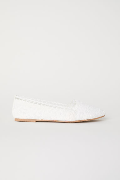 Crocheted ballet pumps - White - Ladies | H&M CN