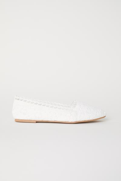 Crocheted Ballet Flats White Hm Us