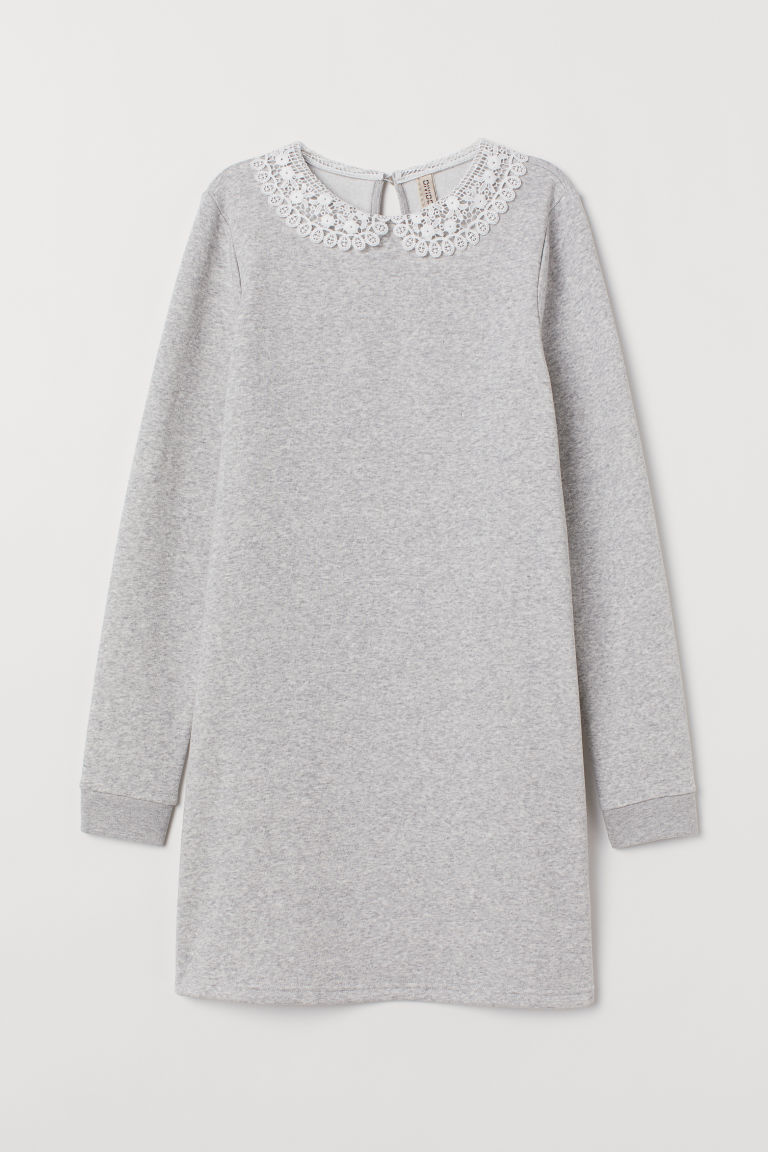 Sweatshirt dress with a collar - Light grey marl -  | H&M IE