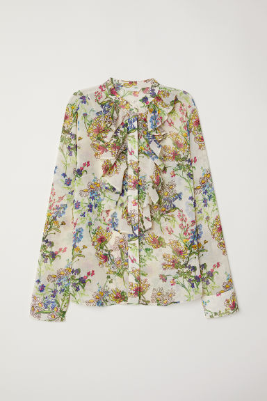 Crinkled flounced blouse - Cream/Floral -  | H&M IE