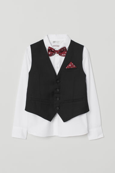 Easy-iron Shirt with Vest - White/black - Kids | H&M CA