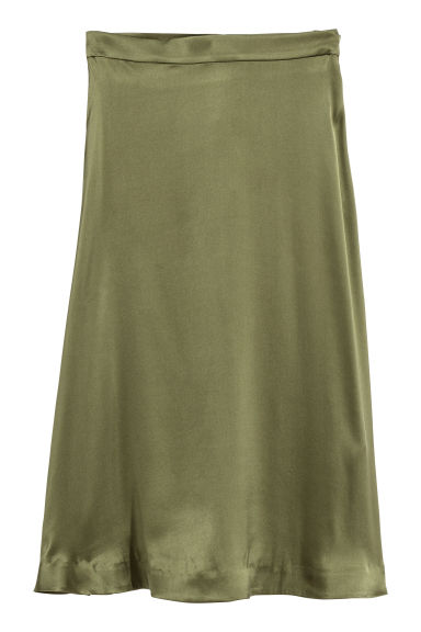 Silk-blend skirt - Dark khaki green - Ladies | H&M