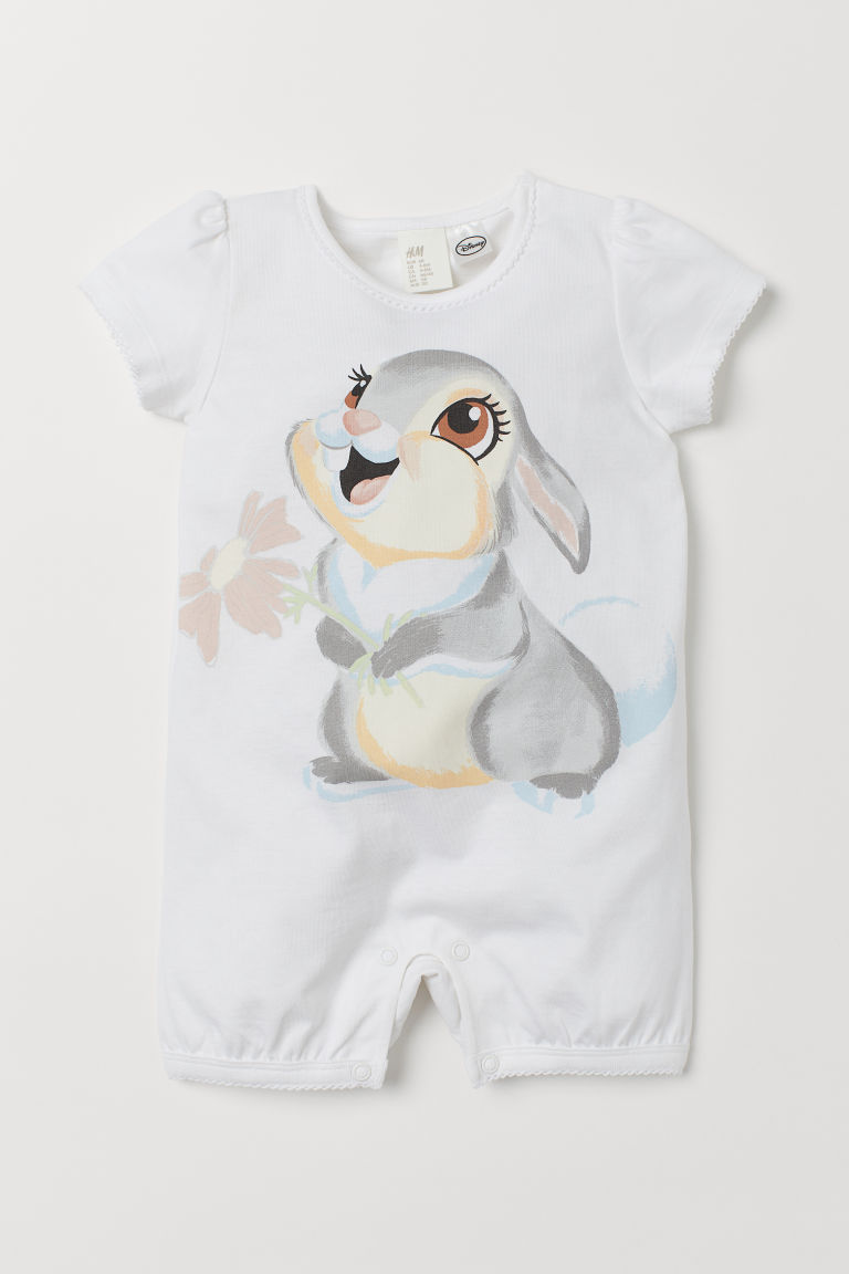 Jersey all-in-one pyjamas - White/Bambi - Kids | H&M GB