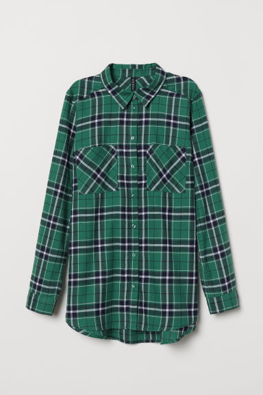 Cotton shirt - Green/Checked -  | H&M CN