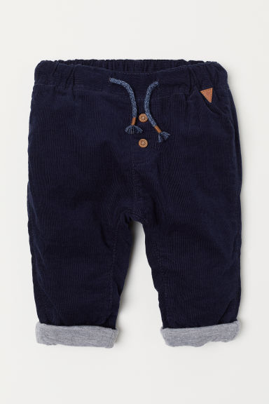 Lined corduroy trousers - Dark blue - Kids | H&M CN