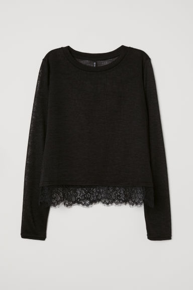 Fine-knit lace-trimmed jumper - Black -  | H&M
