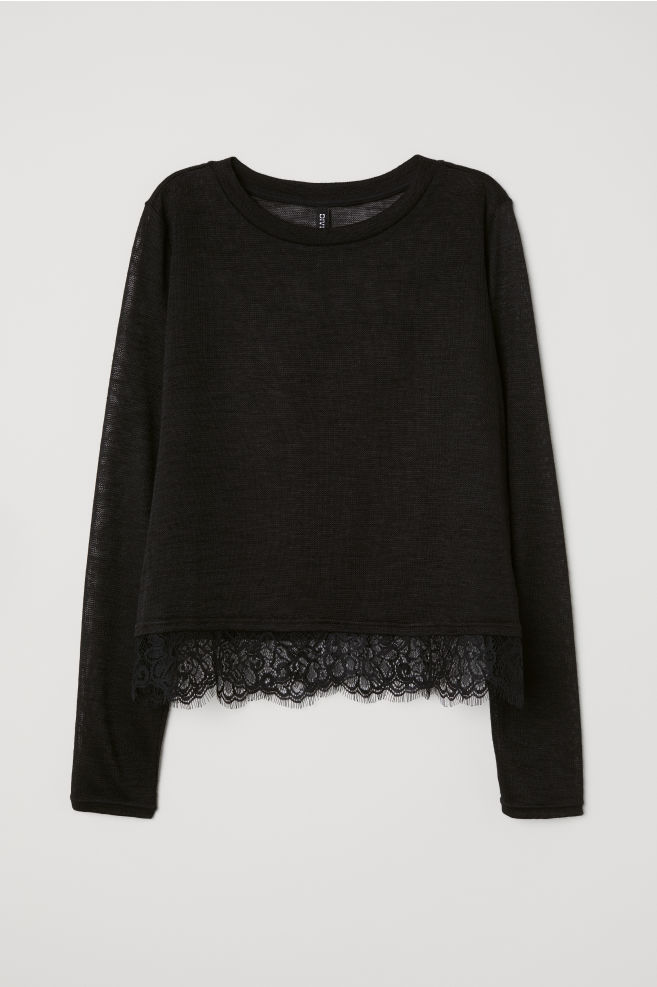 Fine-knit lace-trimmed jumper - Black - Ladies  f9f21c1ac