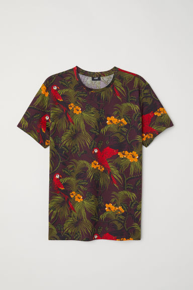 T-shirt in cotone - Bordeaux/fantasia - UOMO | H&M IT