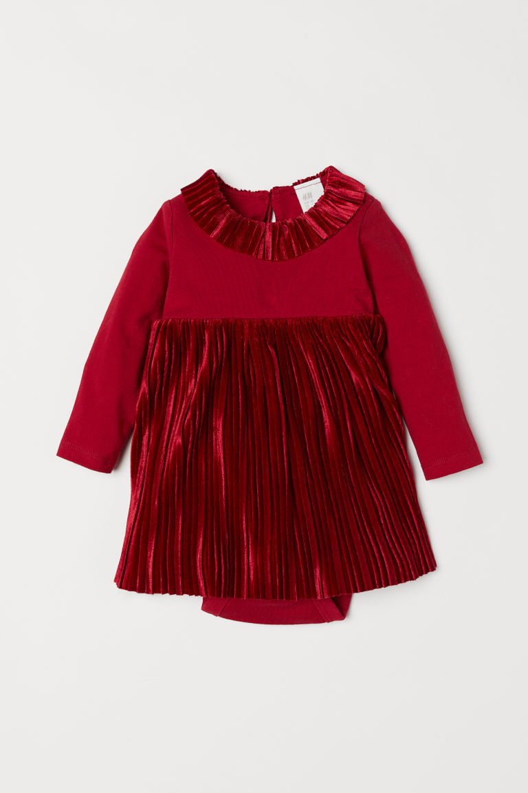 Pleated Bodysuit Dress - Red - Kids | H&M US 1
