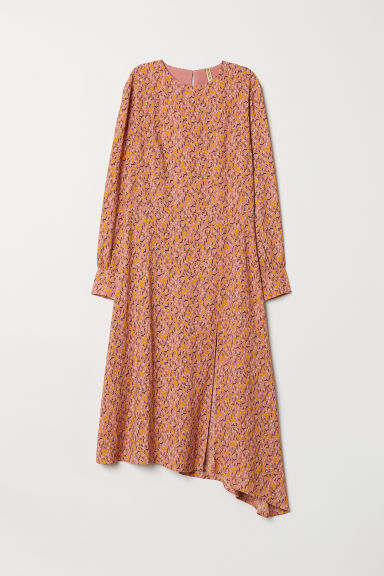 Asymmetric dress - Old rose/Floral -  | H&M CN