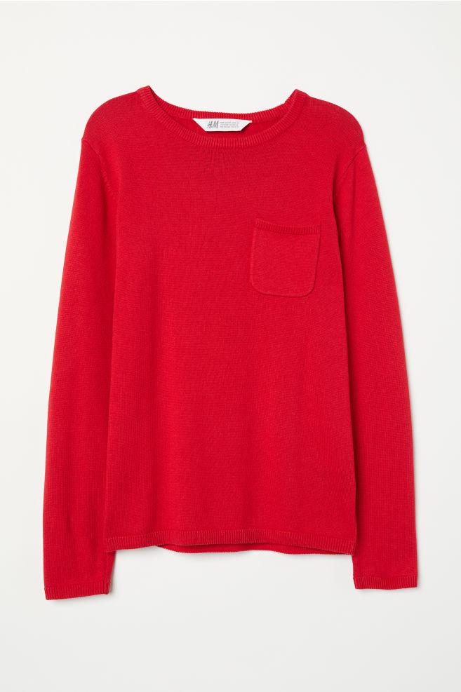 606e5476 Finstrikket genser - Rød - BARN | H&M ...