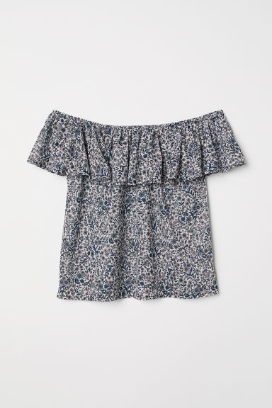 Short-sleeved top - White/Floral - Ladies | H&M CN