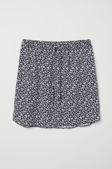 Patterned skirt - White/Dark blue floral - Ladies | H&M