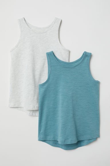 2-pack vest tops - Turquoise/Light grey - Kids | H&M CN