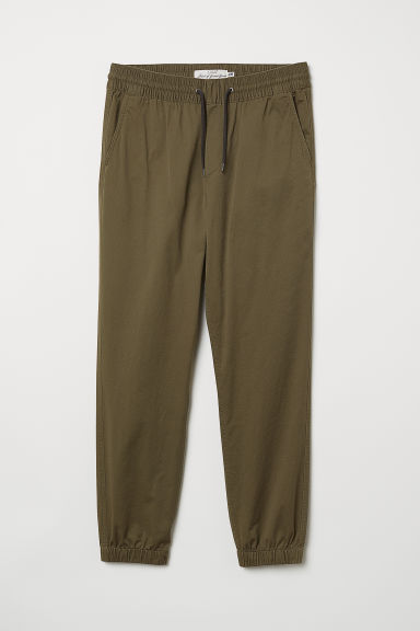 Brushed cotton twill joggers - Khaki green - Men | H&M GB